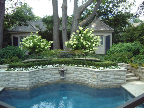 Sandstone Pool Garden Wall