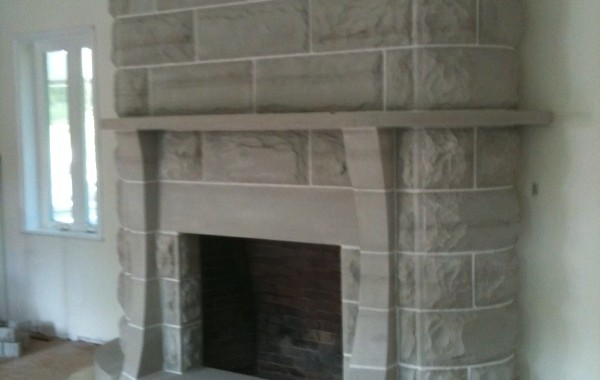 Sandstone Fireplace Wall